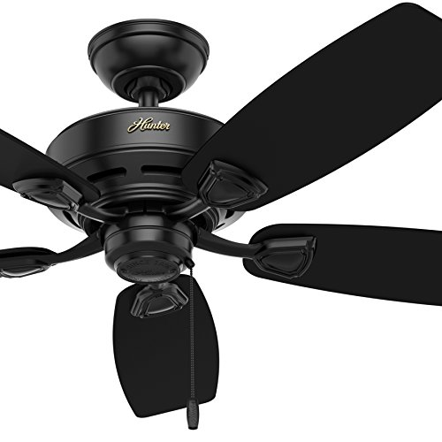 Hunter Fan 48 inch Outdoor Damp Rated Ceiling Fan in White with 5 White Plastic Blades Renewed Matte Black