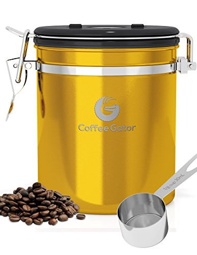 Coffee Canister - Ground or Whole Beans Fresher for Longer - FREE eBook & SCOOP worth $7.97 - Premium Quality Stainless Steel Coffee Container by Coffee Gator (Coffee Container Vaccum compare prices)
