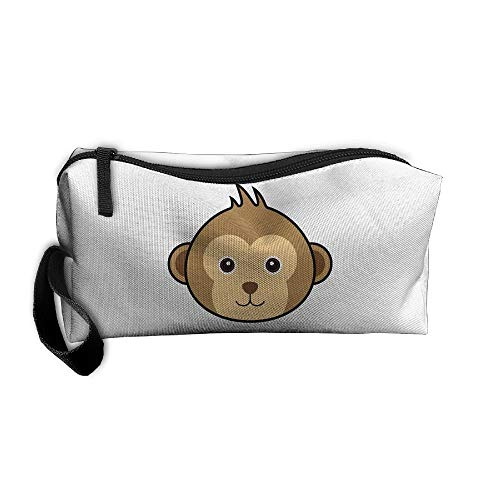 (Cosmetic Bags With Zipper Makeup Bag Monkey Face Middle Wallet Hangbag Wristlet)