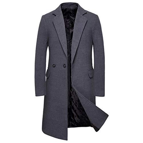 ❣❥HebeTop❥❣ Tops Jacket for Men Overcoat Warm Windbreaker Outwear Slim Long Trench Buttons Coat Dark Gray ()