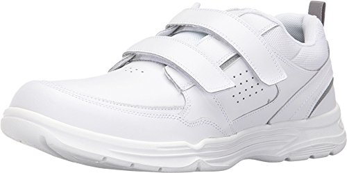 Rockport Men's State-o-Motion Velcro Strap Flat Sandal, White Leather, 9.5 M US (Rockport White Shoes)