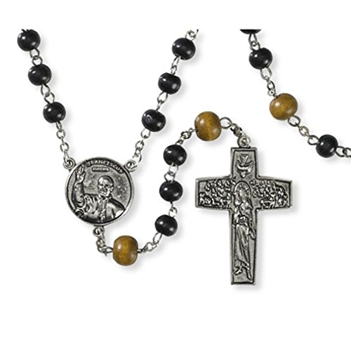 Autom Wooden Prayer Beads Rosary with Pope Francis Center and Good Shepherd Crucifix (Stations Of The Cross St Francis Of Assisi)