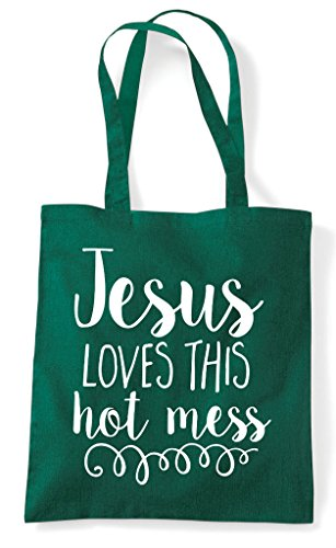 Mess Green Shopper Statement Religious Loves This Bag Tote Jesus Hot Dark fWnvqatU
