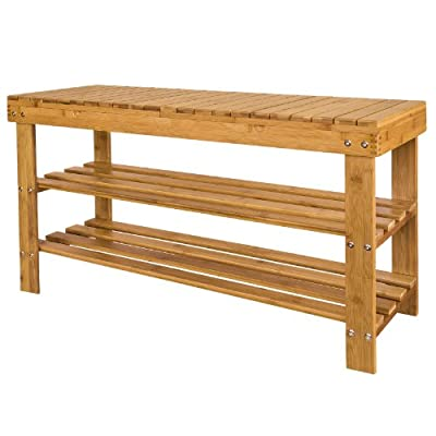 Haotian 100% Bamboo Shoe Rack, Bench, Display Racks, Seat with Sorage Draw On Top,Size: 35.4×11.4×18.3 inch,FSR10-L-N - Bench and shoe rack in one. Practical and decorative Suitable for use as shoe storage and as seating bench. Dimensions: Length:35.43inch, Width:11.42inch, Height: 17.72inch, - entryway-furniture-decor, entryway-laundry-room, benches - 41GqT9XRp3L. SS400  -