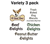 Low Sodium Dog Treats - Variety 3 Pack - Chicken, Peanut Butter, Beef - For dogs with CHF