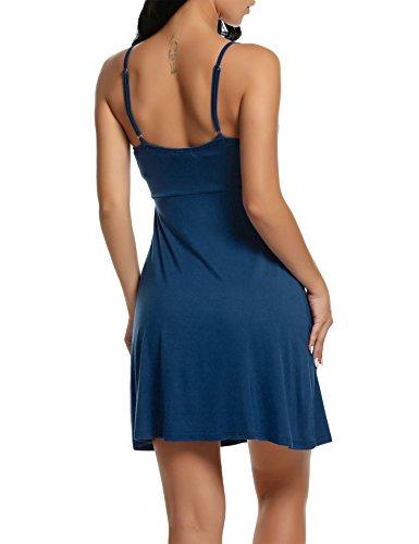 Vestaglia bleu Notte Scollo V Spalline HOTOUCH Donna Pigiama Type1 Camicia da Paon Sottili zwOURnq