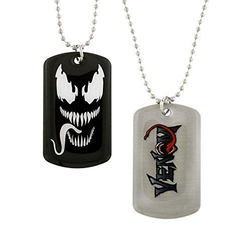 Marvel Comics Venom Spiderman Villian Black and White Face Dog Tag Necklace (New Venom Costumes)
