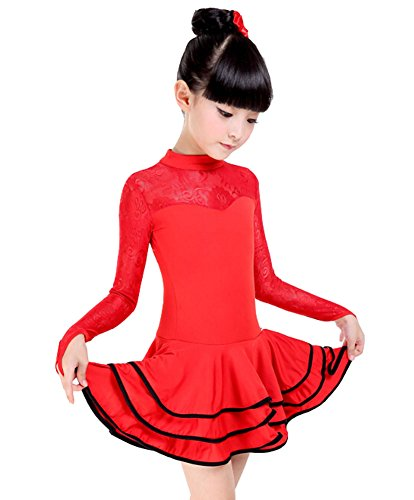 Latin Dance Costumes Hong Kong (Girls New Lace Costume Performance Latin Dance Dress RED(125-135CM Height))