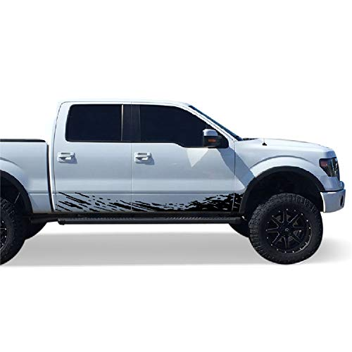 Bubbles Designs Set of Side Mud Splash Decal Sticker Graphic Compatible with Ford F150 Series 2009-2017 (Black)