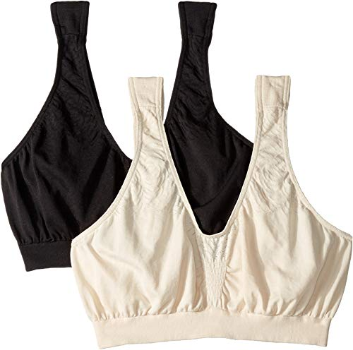 Bali Women's Comfort Revolution Microfiber Crop Bra 2-Pair Beige/Black Large