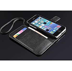 LIMME Genuine Leather Mobile Phone Case for Apple iphone 5c , Black