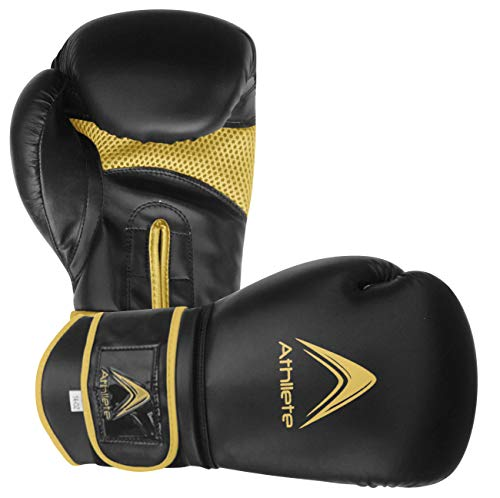 Athllete Training Boxing Gloves (Black/Gold, 16 oz)