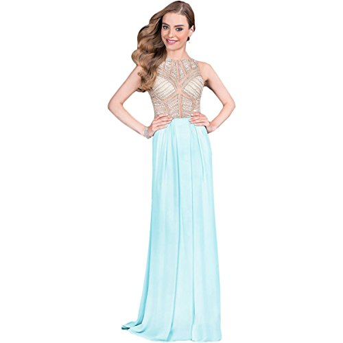 Terani Couture Plus Chiffon Embellished Formal Dress Blue 18 by Terani Couture