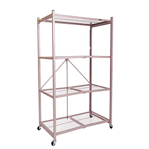 Origami 4-Shelf Foldable Storage Shelves | for Garage Kitchen Bakers Closet, Metal Wire, Collapsible Organizer Rack, Holds up to 1000 pounds, Powder-Coated Steel, Heavy Duty | Rose Gold (Baker Steel Gold)