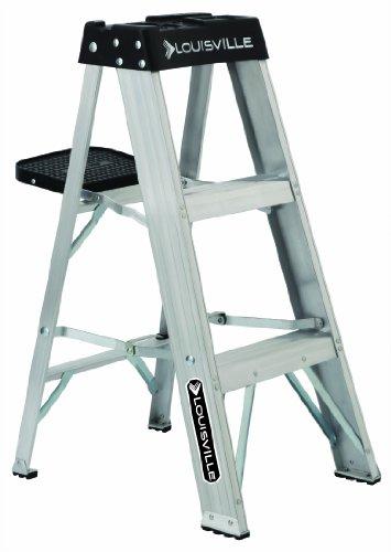 Aluminum Duty Step - Louisville Ladder AS3003 300-Pound Duty Rating Aluminum Stepladder, 3-Foot