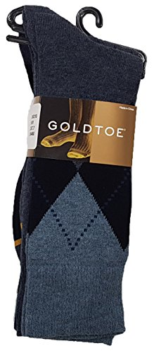 - Gold Toe Men's Classic Casual Argyle 3-Pack Sock Bundle (Sock Size 6 - 12.5 fits Shoe Size 10-13, Navy Argyle)