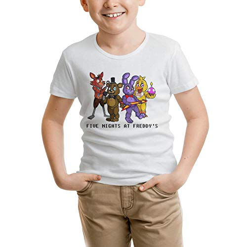 Five-Cool-Nights-at-Freddy-White Soft t Shirts for boy Cotton -