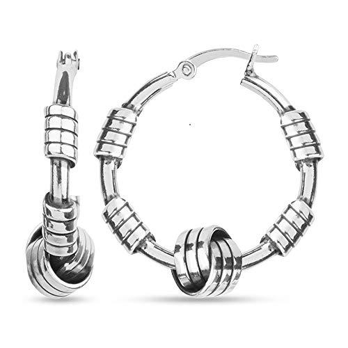 LeCalla Sterling Silver Jewelry Italian Design Love Knot Balinese Hoop Earrings for Teens Women