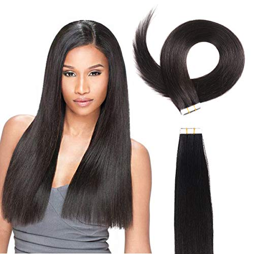 22inch Kinky Yaki Straight Tape In Hair Extensions Japanese High Temperature Organic Hair Synthetic Hair Natural Black ()