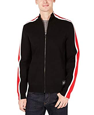 Calvin Klein Mens Jacket Red Small Track Full-Zip Knit Black S