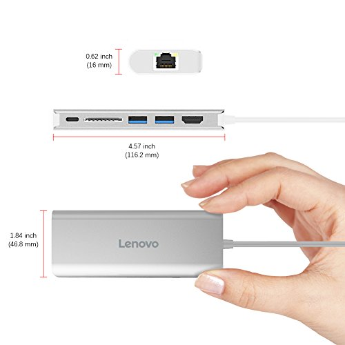 Lenovo USB-C Hub, Aluminum Type C Adapter with HDMI Port, Gigabit Ethernet Port, USBC Power Delivery, 2 USB 3.0 Ports, SD Card Reader, for 2016/2017 MacBook Pro and More USB C Devices by Lenovo (Image #4)
