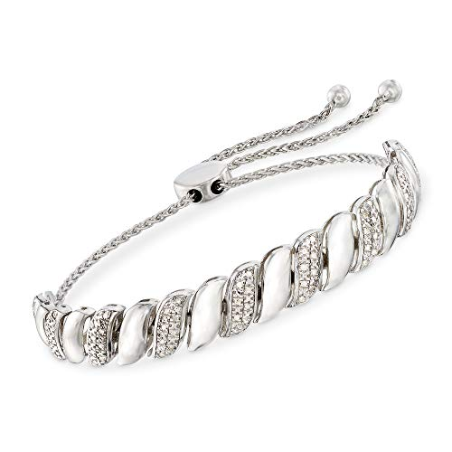 Ross-Simons 0.25 ct. t.w. Diamond and Sterling Silver Patterned Bolo Bracelet by Ross-Simons (Image #4)