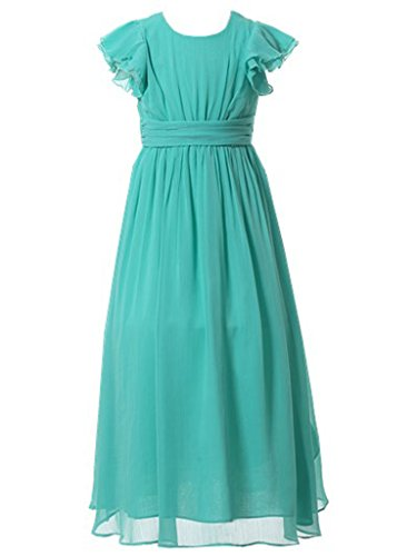 Happy Rose Flower Girl's Dress Prom Party Bridesmaid Dress Long Turquoise 10]()