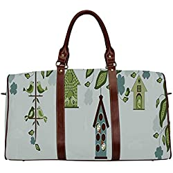 "Flying Birds Decor Multi function Travel Bag,Birds Sitting in Cages Hanged on Elegant Floral Tree Branches Peace Blossom Decor for Dating,18.62""L x 8.5""W x 9.65""H"