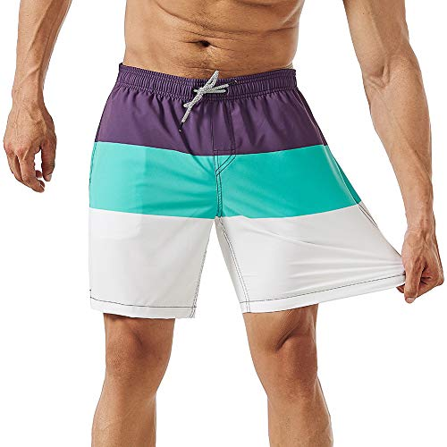 MaaMgic Mens Running Swimming Shorts with Mesh Lining Trunks 4 Way Stretchy Shorts with Pocket Purple (Funny Repellent)