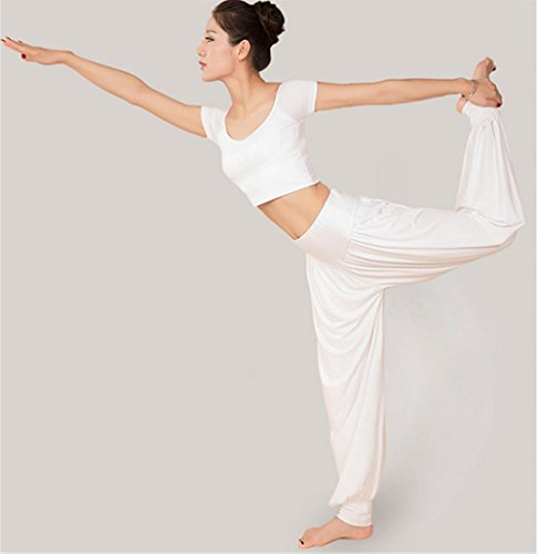 white costume de de femme yoga Vêtements d'entraînement pour danse qwP4xnp1O
