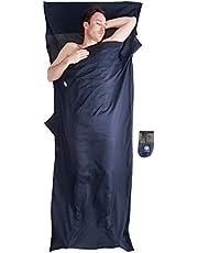 Bahidora Hüttenschlafsack aus ägyptischer Baumwolle, Schlafsack Inlett Baumwolle, Schlafsack Inlay Baumwolle, Reiseschlafsack. Ideal für Hostels, Berghütten und Jugendherbergen (dunkelblau)