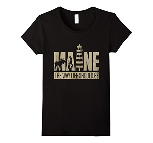 Womens Maine   I Love America T Shirt Medium Black
