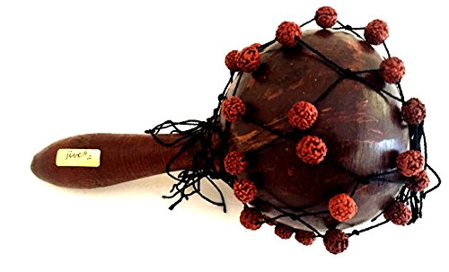 Maracas Wooden Gourd Seed Maraca with Sacred Jentere Beads, Nice Sound, JIVE FEDERAL (TM) BRAND