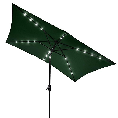 Yescom 10x6.5ft Rectangle Outdoor Patio Beach Market Aluminium Umbrella Sun Shade Solar Powered Led Light Crank Tilt (Green)
