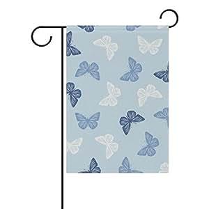 ColourLife - Bandera de playa de vacaciones de temporada de 30,48 x 45,72 cm, diseño de mariposas, color azul y blanco