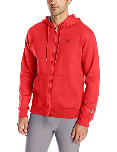 Red Full Zip Hoodie - Champion Men's Powerblend Full-Zip Hoodie, Team Red Scarlet, Large