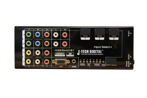 J-Tech Digital Premium Quality Multi-Functional HDMI Converter with 8 Inputs (VGA + AV + Ypbpr