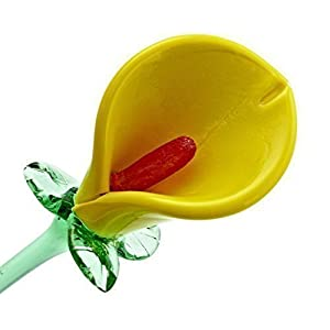 Yellow Glass Calla Lily Flower, One-of-a-kind, Life Size 20″ long. FREE SHIPPING to the lower 48, when you spend over $35.00