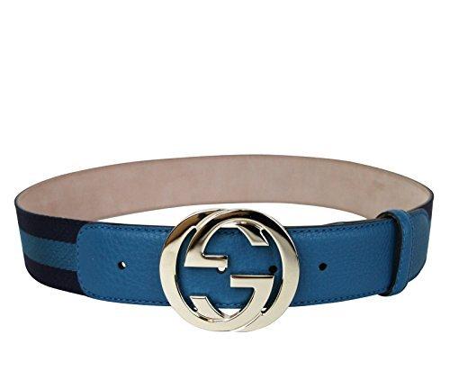 Gucci Women's Blue Webbing Interlocking G Buckle Belt 114876 4174 (95 / 38) by Gucci