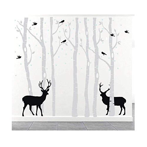 Large Birch Tree Wall Decal Forest Kids Vinyl Sticker Trees for Living Room Decor Elk Art Decoration, Removable (Gray Tree + Black Deer, M:400 x 260cm)