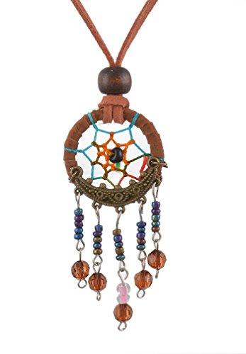 MJartoria Dream Catcher Pendant Ball Beads Cluster Dangle Suede Rope Necklace -