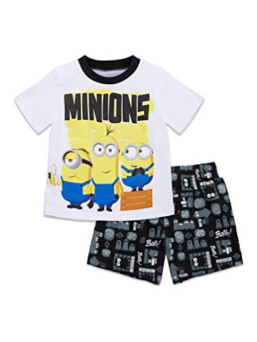 Despicable Me Minions Toddler Boys T-Shirt and French Terry Shorts Set 2T White/Black