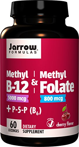 Jarrow Formulas Methyl B-12 & Methylfolate + P5P (B6) Lozenges, Cherry, 60 Count - Jarrow B-12 Vitamins