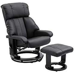 Living Room HOMCOM Heated Sofa Reclining Armchair PU Leather Massage Swivel Recliner Chair and Ottoman with Bentwood Base – Black