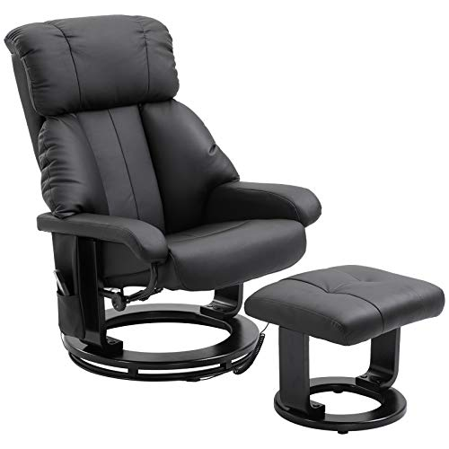 HOMCOM PU Leather Massage Swivel Recliner Chair and Ottoman with Bentwood Base – Black