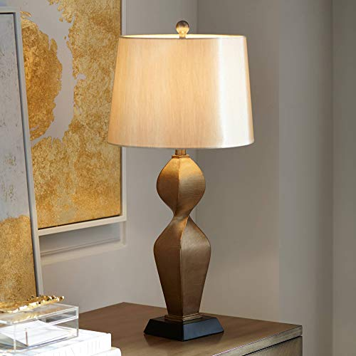 Helen Modern Table Lamp Gold Twist Base Tapered Drum Shade for Living Room Family Bedroom Bedside Nightstand Office - Possini Euro Design