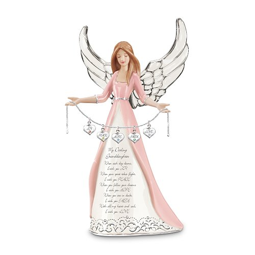 (The Bradford Exchange Darling Granddaughter, I Wish You Collectible Angel Figurine Gift)