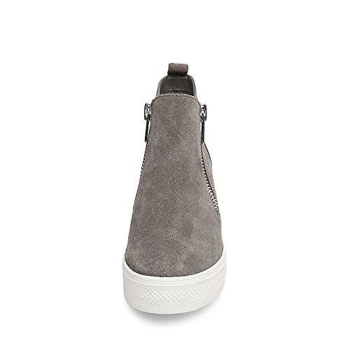Steve Madden Women's Wedgie Sneaker, Grey Suede, 7 M US