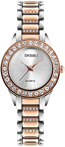 Women Fashion Swarovski Crystal Accented Gold-Tone Stainless Steel Quartz Watch Ladies Waterproof Dress Two-Tone Bangle Bracelet Wristwatches (Rose (Dress Two Tone Wrist Watch)