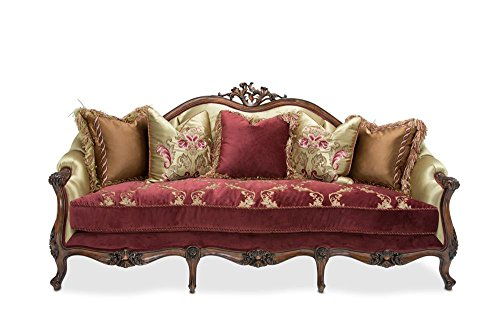 Monique Wood Trim Sofa in Ruby English Tea by Aico Amini -